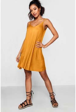 Mustard yellow Basic V Neck Swing Dress