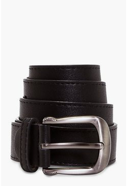 Black Curved Buckle Boyfriend Belt