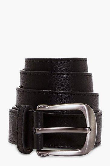 Black Curved Buckle Boyfriend Belt