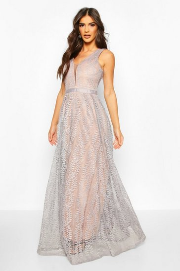 Ice blue Boutique Lace Plunge Maxi Bridesmaid Dress