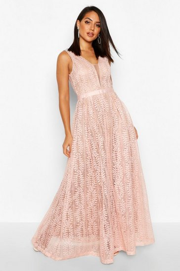 Pink Boutique Lace Plunge Maxi Bridesmaid Dress