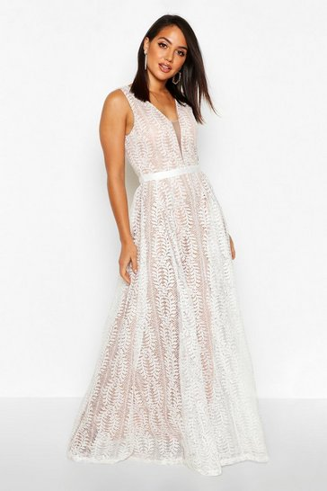 White Boutique Lace Plunge Maxi Bridesmaid Dress