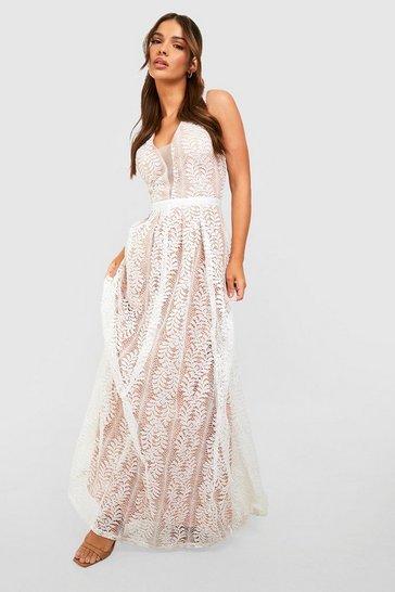 White Boutique Lace Plunge Maxi Bridesmaid Dress
