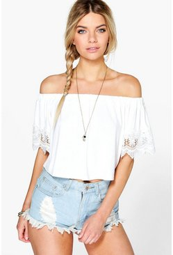 Ivory white Mandy Crochet Trim Off The Shoulder Top