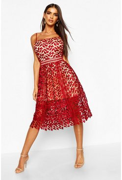 Berry red Corded Lace Detail Midi Skater Dress