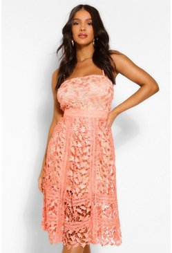 Coral pink Corded Lace Detail Midi Skater Dress