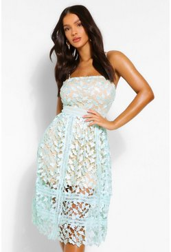 Mint green Corded Lace Detail Midi Skater Dress
