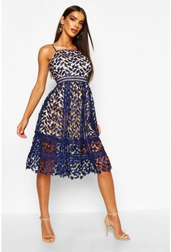 Navy Corded Lace Detail Midi Skater Dress