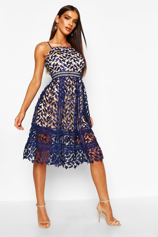 DRESSES Corded Lace Detail Midi Skater Dress