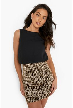 Black 2 in 1 Chiffon Top Sequin Skirt Bodycon Dress