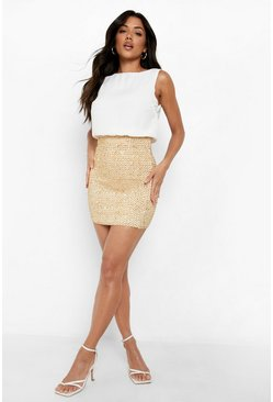 Ivory white 2 in 1 Chiffon Top Sequin Skirt Bodycon Dress