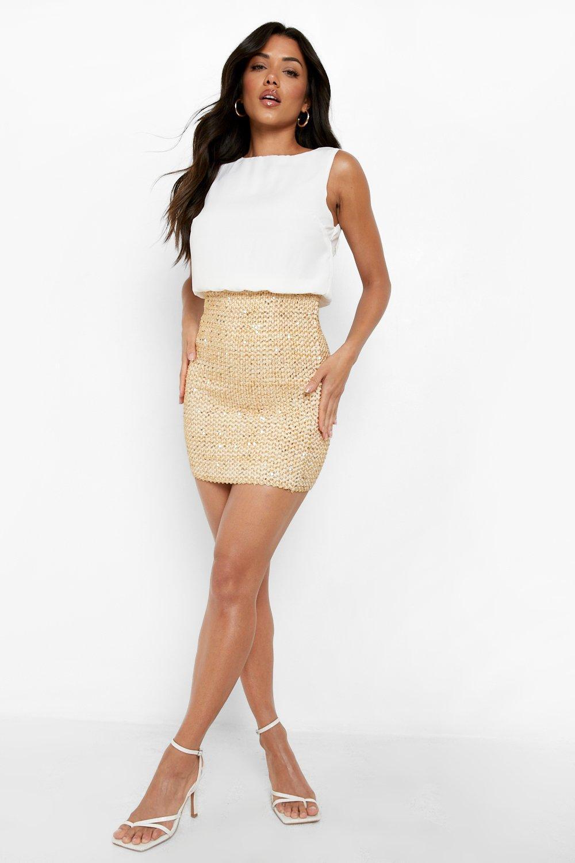 Sequin Dresses 2 in 1 Chiffon Top Sequin Skirt Bodycon Dress