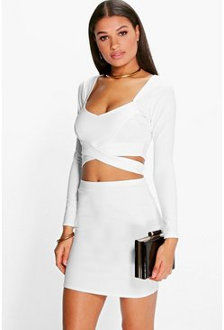 Ivory white Wrap Top And Mini Skirt Co-Ord Set