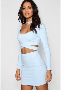 Sky blue Wrap Top & Mini Skirt Two-Piece Set