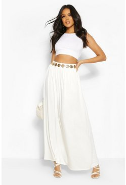 Ivory white Floor Sweeping Jersey Maxi Skirt
