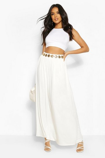 Ivory Floor Sweeping Jersey Maxi Skirt