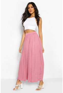 Rose pink Floor Sweeping Jersey Maxi Skirt