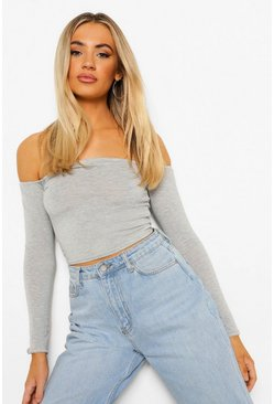 Grey Basic Long Sleeve Bardot Crop Top
