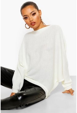 Ivory white Oversized Rib Knit Batwing Jumper