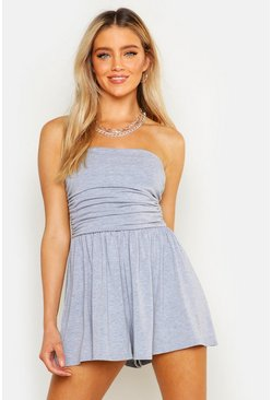 Grey marl grey Basic Ruched Bandeau Playsuit