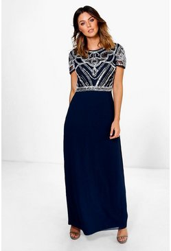 Navy Boutique Sequin Embellished Maxi Bridesmaid Dress