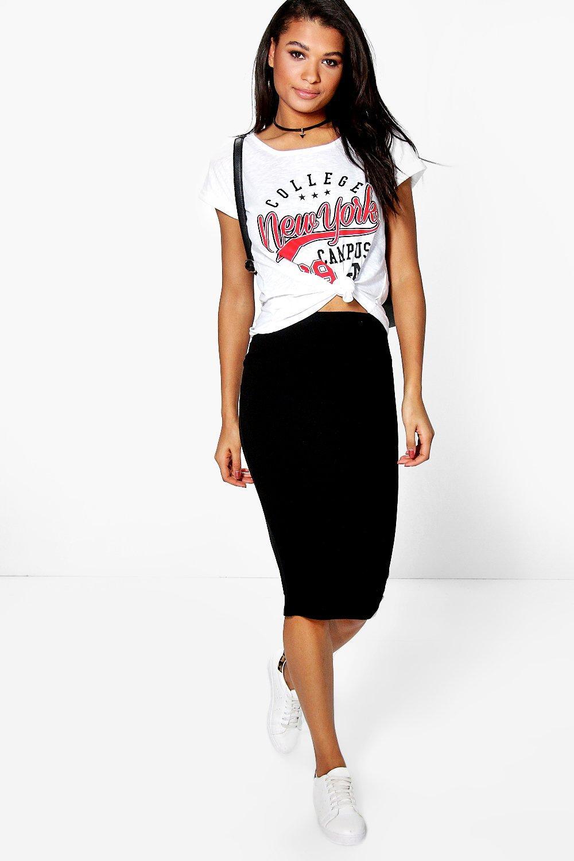 Bella Basic Jersey Midi Skirt   boohoo