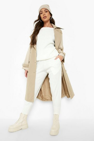 Ivory white Boutique Heavy Knitted Tracksuit