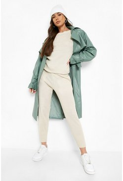 Stone beige Boutique Heavy Knitted Loungewear Set