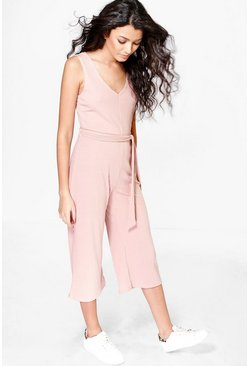 Blush pink Basic Ribbed Culotte Jumpsuit