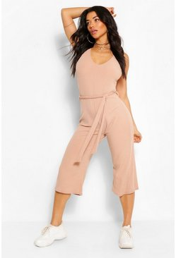 Stone beige Basic Ribbed Culotte Jumpsuit