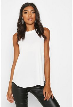 Cream white Tall High Neck Strap Top
