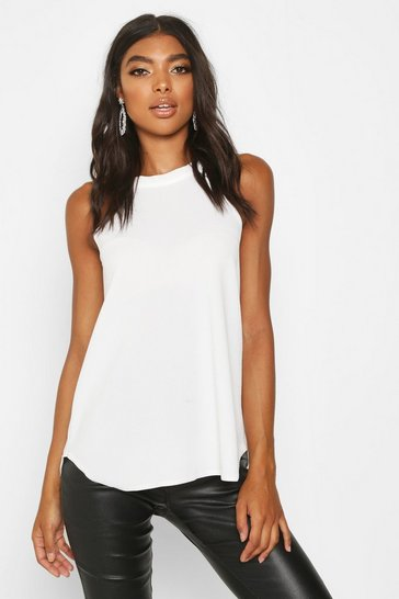 Cream white White Tall High Neck Strap Top