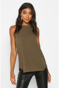 Khaki Tall High Neck Strap Top
