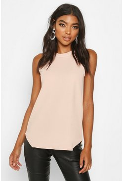 Top con tirantes de cuello alto tall, Color carne