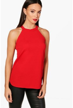 Red Tall High Neck Strap Top