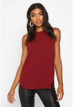 Wine red Tall High Neck Strap Top