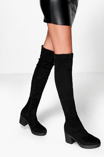 Black Cleated Stretch Over The Knee High Boots