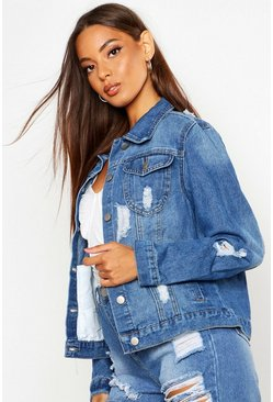 Pale blue blue Western Denim Jacket