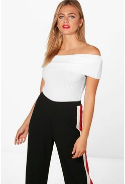 White Lara Ribbed Bardot Off The Shoulder Bodysuit