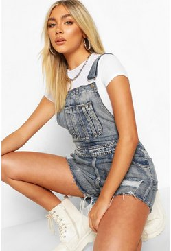 Mid blue blue Frayed Edge Denim Dungaree Shorts