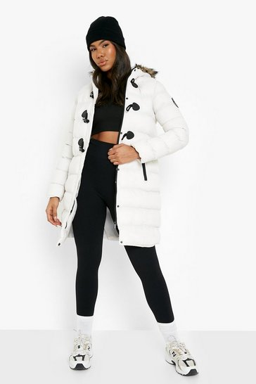 Stone beige Quilted Faux Fur Hood Parka