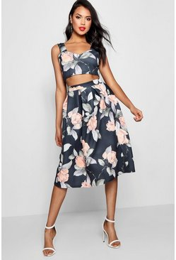 Multi Crop Top & Full Midi Skirt Two-Piece Set