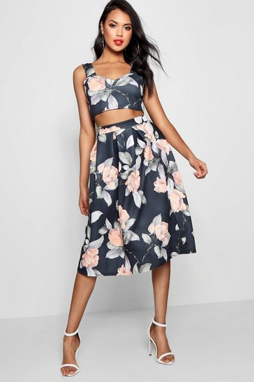 Multi Crop Top And Full Midi Skirt Co-Ord Set