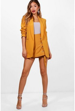 Mustard yellow Ruched Sleeve Blazer