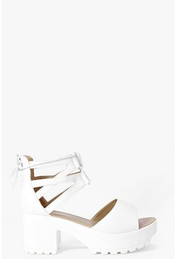 White Lace Up Two Part Cleated Sandals
