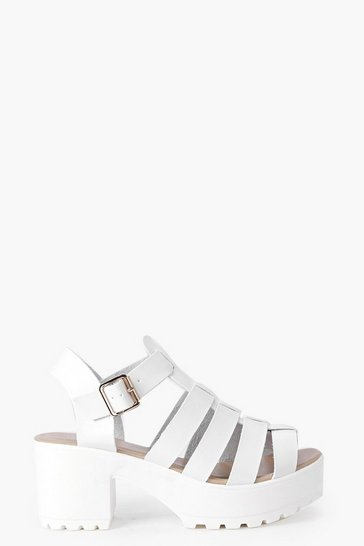 White Fisherman Cleated Sandals
