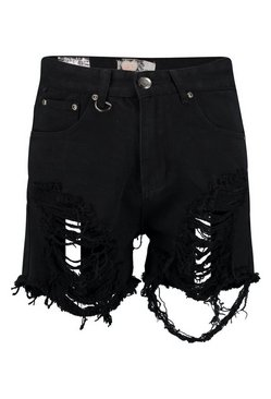 Black High Rise Distressed Thigh Denim Mom Short
