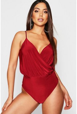 Berry red Slinky Wrap Front Thong Bodysuit