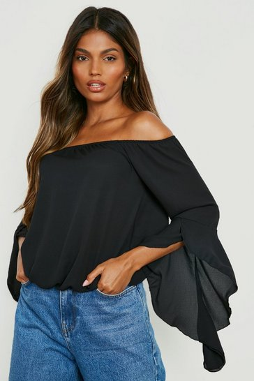Black Fluted Frill Sleeve Off The Shoulder Top