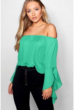 Green Fluted Frill Sleeve Off The Shoulder Top